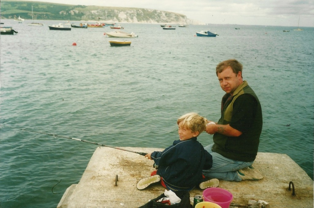 Dad and I fishing in Swanage